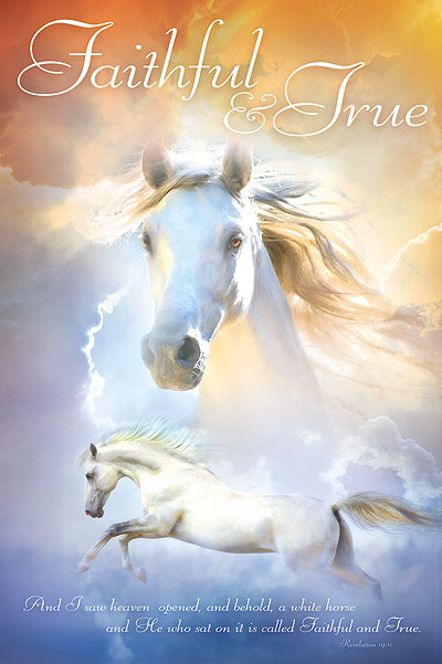 Religious posters with the white horse from Revelation