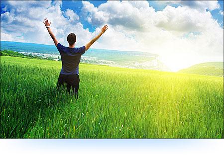 Man worshipp9ng God in nature
