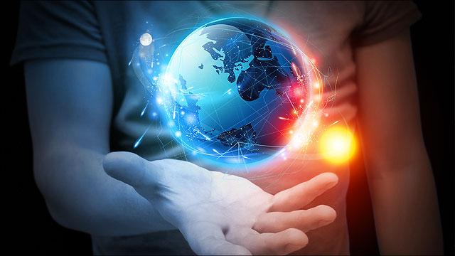 Hand die symbool staat voor eenheid tussen God, wetenschap en de Bijbel